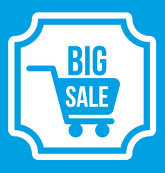 Big sale sticker icon white vector