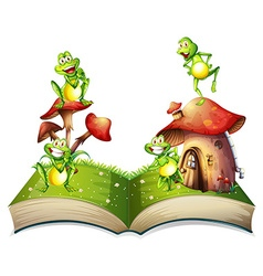 Book of toads and toadstool vector
