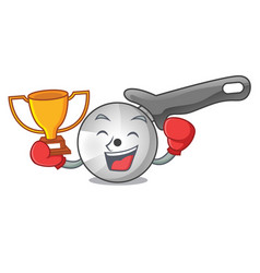 Boxing winner pizza cutter knife isolated on vector