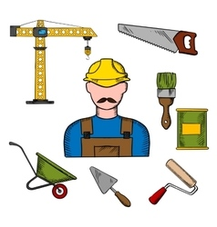 Builder and construction tools icons vector