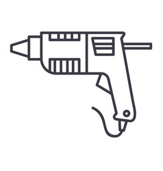 caulk gunglue gun line icon sign vector image