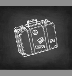 chalk sketch suitcase with stickers vector image
