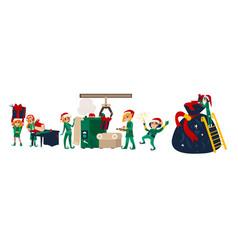 christmas elves making presents in santa workshop vector image