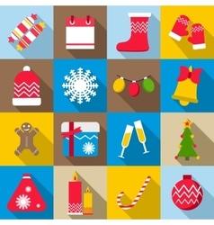 Christmas icons set flat style vector image