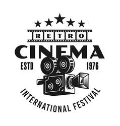 cinema retro camera monochrome emblem vector image