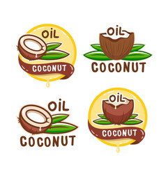 coconut oil logo collection organic natural vector image