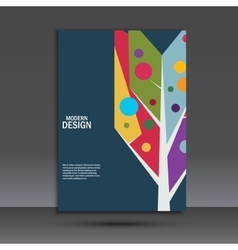 Color abstract tree on dark background vector