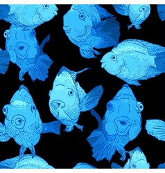 Colorful Seamless Background with Fish vector image