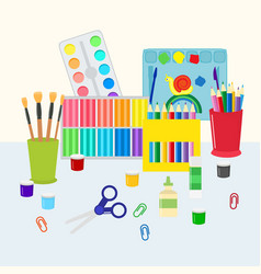 colorful stationery set vector image