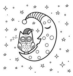 coloring page for kids with a cute sleeping moon vector image