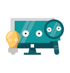 computer and magnifying glass with bulb light vector image
