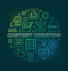 Content creation round colored linear vector