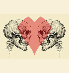 Couple skulls and heart symbol vector