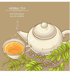 Cup of licorice tea and teapot vector