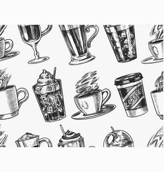 cups coffee background in vintage style vector image
