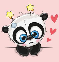Cute cartoon panda with big eyes vector