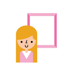 cute woman avatar with picture vector image