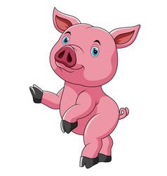 Dancing cute cute pig cartoon vector