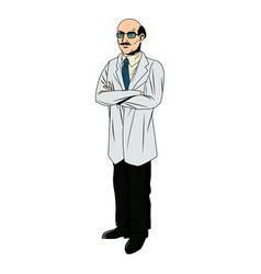 doctor male bald glasses and coat tie clothes vector image