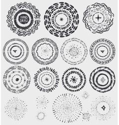 doodle artistic pattern wreathframeburstblack vector image