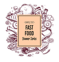 fast food hand drawn retro poster vector image