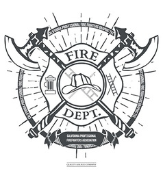 Fire Dept Label Helmet with Crossed Axes T-shirt vector image
