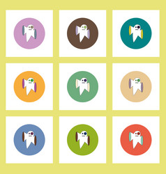 flat icons halloween set of ghost concept on vector image