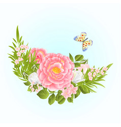 floral crescent frame with pink and white roses vector image