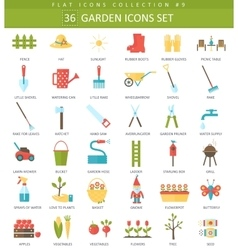 garden color flat icon set Elegant style vector image
