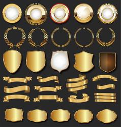 Golden retro labels badges frames and ribbons vector