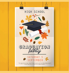 Graduation party poster with graduation cap vector