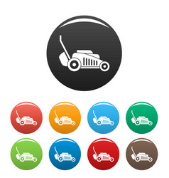 grass cut machine icons set color vector image