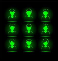 Green neon mans avatar set virtual character vector