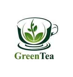 green tea cup logo concept design symbol graphic vector image