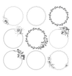 hand drawn - laurels and wreaths design elements vector image