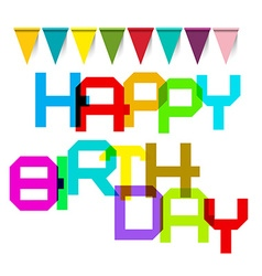 Happy Birthday Colorful Title and Flags vector