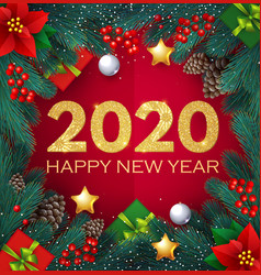 happy new 2020 year realistic christmas vector image