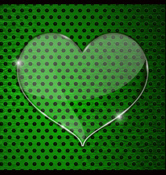 heart transparent plate on green perforated vector image