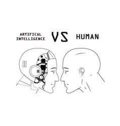 humans vs robots vector image