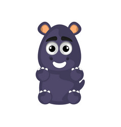 isolated cute happy hippo on white background vector image