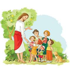 Jesus with children cartoon christian vector