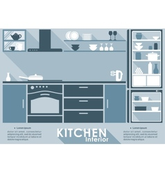 Kitchen interior in flat style vector image