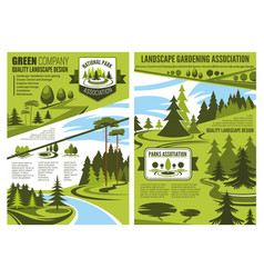 Landscape design and gardening association posters vector