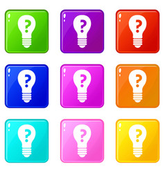 Light bulb with question mark inside set 9 vector