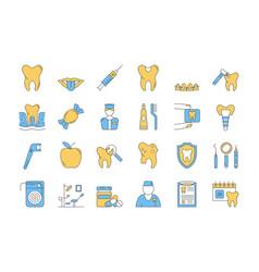 Linear color icon set 7 - dental care vector