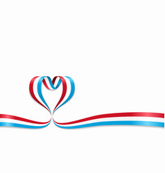 luxembourg flag heart-shaped ribbon vector image