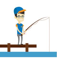man fishing on jetty vector image