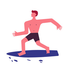 man or boy on surfboard summer sport icon vector image