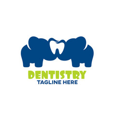 Modern childrens dentistry and elephant logo vector