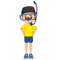 Muslim boy with snorkel and fins on isolated vector